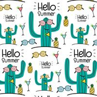Hello Summer Vector Pattern Background. Vector Illustration.