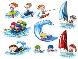 Um conjunto de atividades de esportes aquáticos