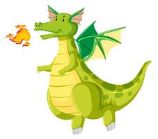 green fire breathing dragon vector