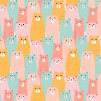 Hand Drawn Cute Bears Vector Pattern Background. Handmade Vector Illustration.