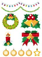 Different christmas ornaments on white background