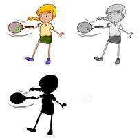 Set of female tennis player character