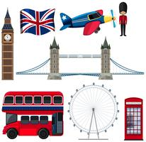 Un ensemble d'éléments touristiques d'Angleterre