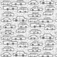 Patroon met de hand getekende Doodle Cars achtergrond.