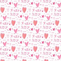Hand drawn cute heart pattern background.