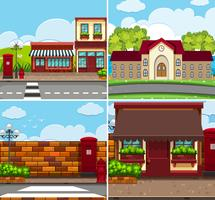 Four background scenes with buildings and roads