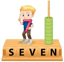 A boy holding number seven