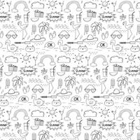Pattern With Hand Drawn Doodle Summer Background. Doodle Funny. Handmade Vector Illustration.