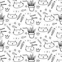 Cute cat doodle pattern background.