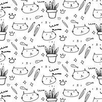 Gullig katt klotter mönster bakgrund.