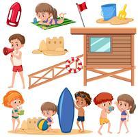 Set of children at the beach