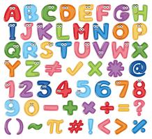 Colourful English Alphabet and Number