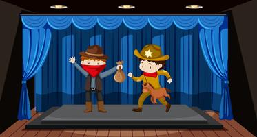 Studenten voeren drama uit op het podium