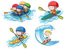 Niños haciendo deporte acuático sobre fondo blanco