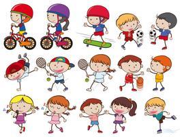 Un set di attività sportive per bambini Doodle