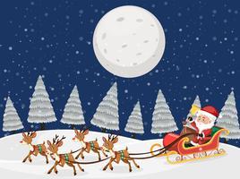 Santa on sleigh with reindeers snow night scene