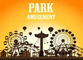 Parque de atracciones de fondo silhoutte.