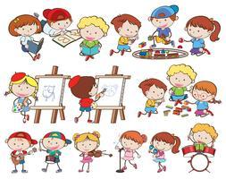 Um conjunto de crianças e atividades vetor