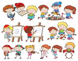 A set of children and activities