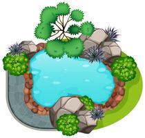 A garden top view vector