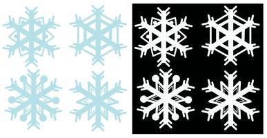 Schneeflocken in blauen und weißen Farben