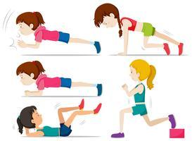 Conjunto de meninas fazendo exercícios de fitness