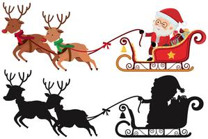 Christmas silhouette with Santa and reindeers
