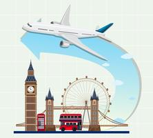 England landmarks with airplane vector