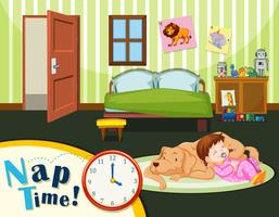 Young toddler nap time vector