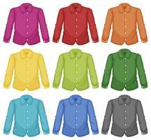 Conjunto de camisa de cuello de color vector