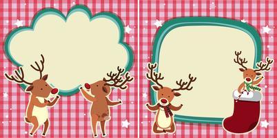 Dos plantillas de borde con renos para navidad.