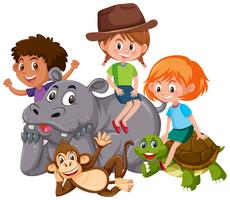 Isolated kids with wild animals vector