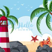Summer background with lighthouse and beach