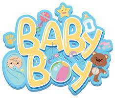 Font design for word baby boy with baby and toys