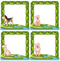 Set of dogs frame scenes