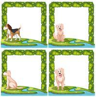 Set van hondenkaderscènes