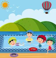 Many children in the swimming pool vector