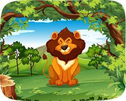 Leão em cena de madeira