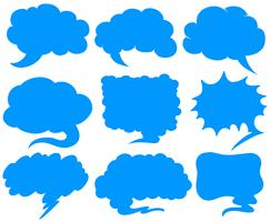 Blue speech bubbles in different shapes