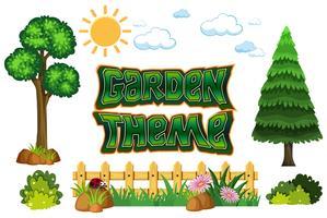 Set med trädgårds tema