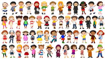 Set of multicultural people character