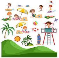 Set of summer beach activity