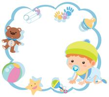 Border template with cute baby and toys