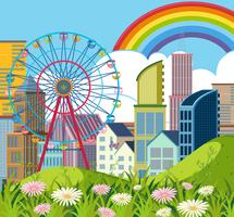 City scene with buildings and ferriswheel