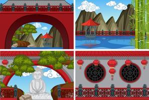 Vier Szenen des chinesischen Tempels mit roten Wänden