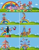 Set of different amusement rides