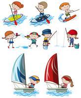 Doodle Kids und Sportaktivitäten vektor
