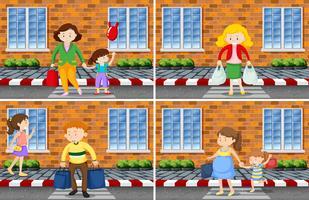 Set di scene di strada di persone