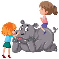 Two children riding rhinoceros vector