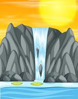Wasserfallsonnenuntergang-Hintergrundszene